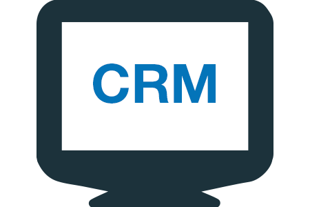 Image of screen with text CRM in vector