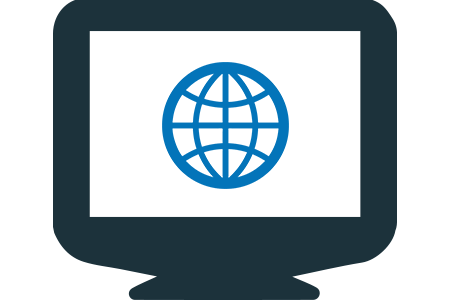 Image of screen with globe in vector