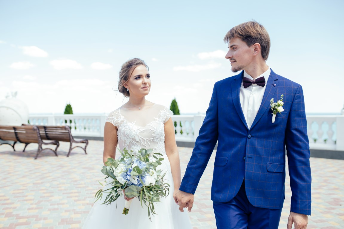 Image of couple in wedding day near Black sea